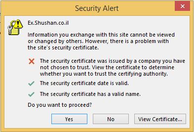 אזהרה המופיע כאשר משתמש מתחבר לאוטלוק במחשבו