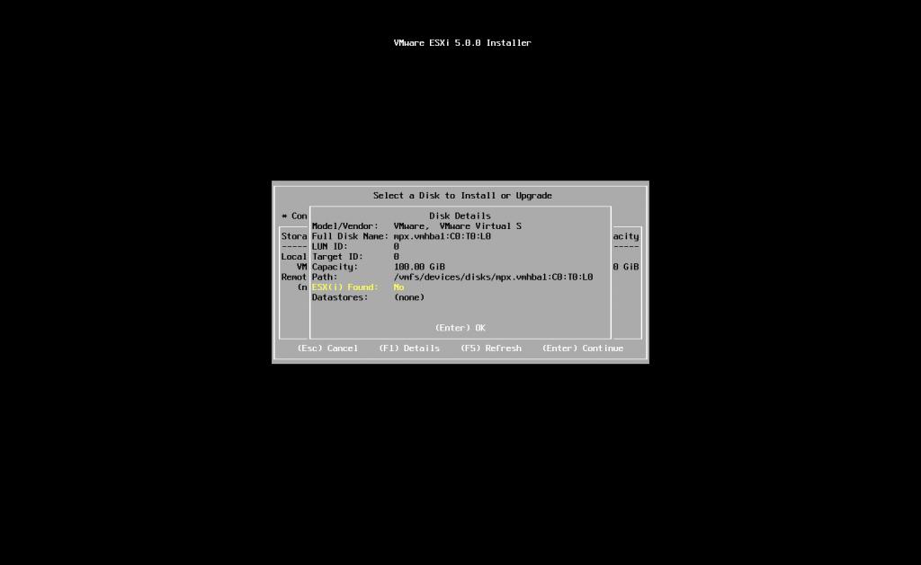 בצהוב תוכלו לראות שהוא בודק האם קיימת כבר גירסה של ESXI בשרת זה