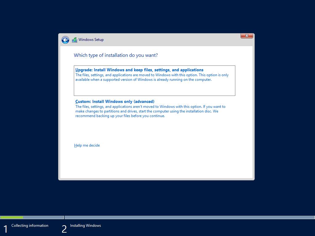 האפשרות הראשונה היא שדרוג שכן אין מערכת הפעלה כלל על השרת החדש